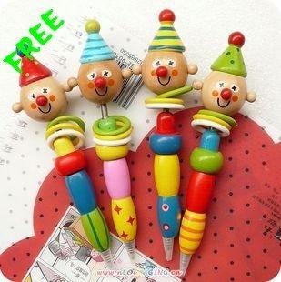 Free Shipping, Wooden Clown Ball-pen With Shakable Head, Cartoon/Pen/Fashion Ballpoint Pens, 40 pcs/lot
