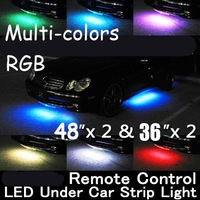 """Brand New WIRELESS REMOTE Multi-Color Under Car LED Glow Neon Light Kit (2*36""""+2*48"""") RGB"""