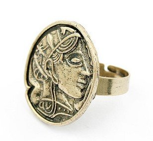 Free Shipping! Elegant Vintage Retro Style Greek Godness Head Coin Rings As Gift/30pcs/lot(China (Mainland))