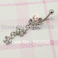 10PCS/Lot Free Shipping BJ0044 Stainess Steel Fashion Rhinestone Flower Button Bulk Piercing Piercing Na Orelha