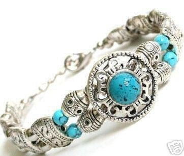 4PC Genuine Jewelry Tibet silver Turquoise Jade Bracelet Bangle Fashion Free shipping(China (Mainland))