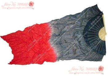 10pcs/lot free shipping  grey - red silk dance fan veil/belly dance fan veil/silk fan veil wholesale