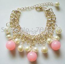10 pcs/lot, Free shipping, 2011 new design fashionable Gold tone Rhinestone Beads Bracelets BL11036(China (Mainland))