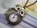 Free shipping Wholesale Retail  Bronze Vintage Style Owl Necklace Pocket Watch Pendant   5pieces/lot