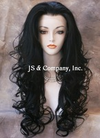 29 inches Heat OK French Lace Front Wig Long Black Wavy ladies sexy fashion long hair front lace wigs