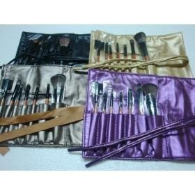 Wholesale - 7pieces Brush set Gold/ Purple / grey Color with LEATHER Pouch.5pcs(China (Mainland))