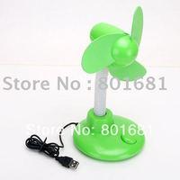 Free Shipping+Tracking number!! 2pcs/lot green USB FAN Portable USB Desktop Laptop Desk Cooler Cooling Fan with battery