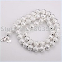 Freeshipping wholesale,925 silver necklace,dull polished  ball necklace10mm