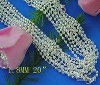 100 pcs fashion beads chain necklace hot sale 1.8MM 20 inch 925 silver bulk