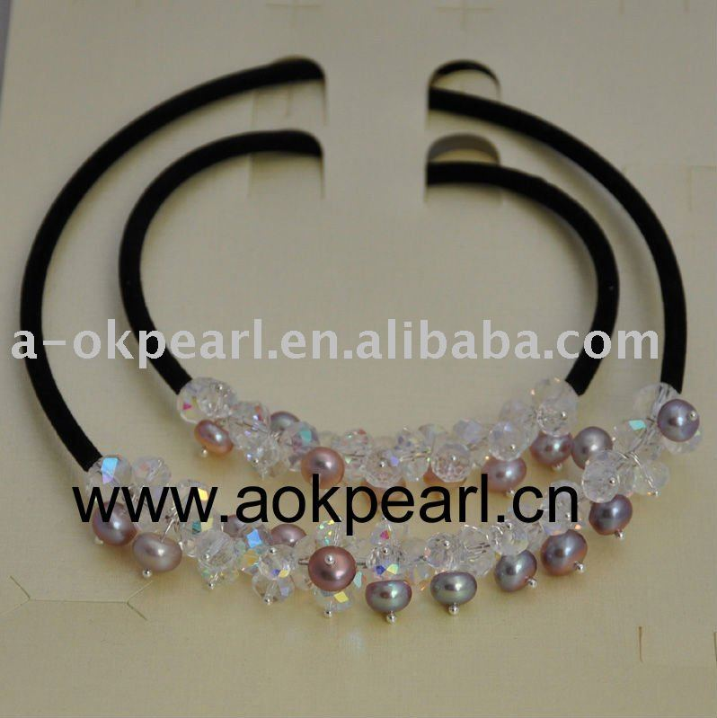 AS006 7-8mm AAA button freshwater pearl jewelry set(China (Mainland))