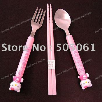 Hello kitty tableware/chopsticks/spoon/folk/UC07I(high quality+Unique design+free shipping