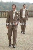 wholesales 2012  brown woolen wedding men's suit