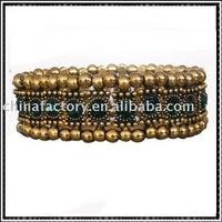 one row elastic round rhinestone alloy bangles
