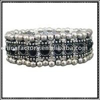 one row stretch alloy black round rhinestone bracelet