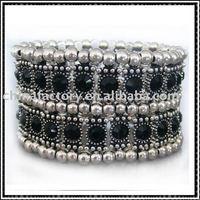 fashion two row elastic zinc alloy jewelry