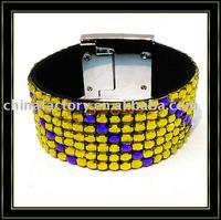 7rows colorful rhinestone handmade wrap friendship plain leather  bracelets with heart closure