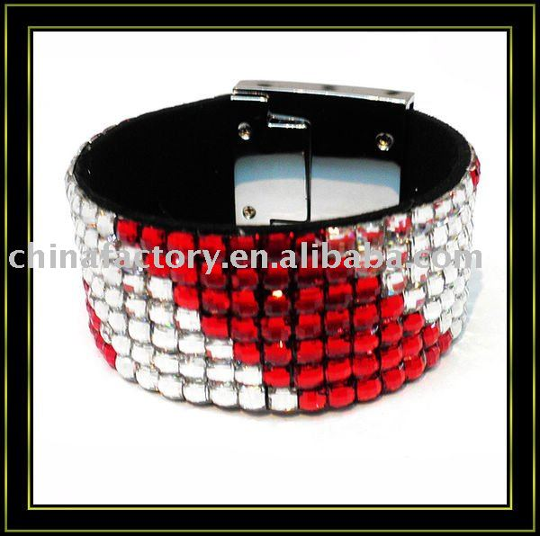 7rows colorful rhinestone handmade wrap leather bracelet for christmas(China (Mainland))