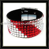 7rows colorful rhinestone handmade wrap leather bracelet for christmas
