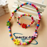 Kawaii Colourful Wooden Necklace & Bracelet Set For Kids Color flower 35sets/lot,Free shipping