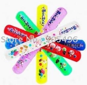 Free Shipping! New Arrival! 50pcs/ lot reflective silicone slap band child bracelet clap toy wristbands mix color 22X3CM