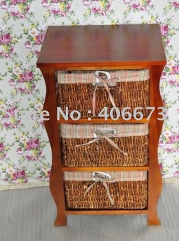 Free shipping 1pc/ctn SOLID paulownia wood cabinet&chest WITH 3 WOVEN DRAWERS free Shipping