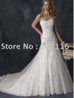 New Fashion Design Mermaid/Trumpet Wedding Dresses Sleeveless/Backless Satin Court Train Maggie Adorae No.YY118