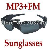 Free shipping Sunglasses Mp3 Player FM Radio 2GB Headset Sun Glass