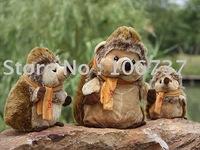 "Roundish Russ Brown Scarf Hedgehog Stuffed Plush 11""new"