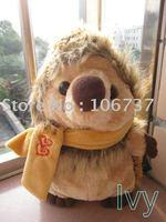 "Roundish Russ Brown Scarf Hedgehog Stuffed Plush 8""new"