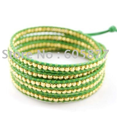 "Pure handmade leather strand Wrap Bracelets 35"" Gold CCB Bead bracelets Unisex Fashion Jewerly Green Free silk bag(China (Mainland))"