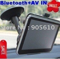 Free shipping Hot sell 7 Inch Car Navigator GPS with Bluetooth, AV IN, Fm transimitter window CE 4GB card