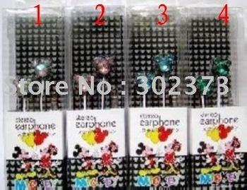 free shipping! 10pcs/lot In-ear earphone Crystal Mickey head earphone for MP3 mp4 mp5 iphone earphone headset