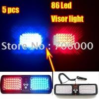 5pcs/lot Super Bright Car Truck Emergency 86 Led car strobe light / Visor light / Visor Strobe light Red / Blue With Retail box