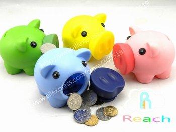 T021 Cute Piggy Coin Bank Money Bank money box 4 colors mixed 20pcs/lot