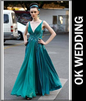 A line skirt Deep V neckline green  Academy awards gowns