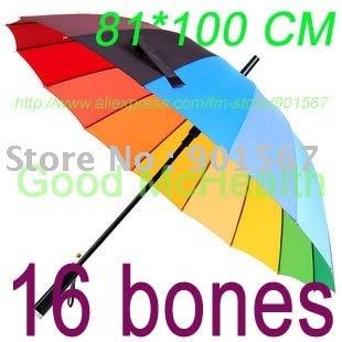 retail-16 bones 16 colors rainbow rain umbrella 16k beautiful colorful auto sun beach fishing umbrella