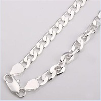 Freeshipping wholesale 925 silver necklace,silver men necklace 10mm