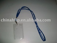 transparent color soft pvc badge card holder with neck strap use for the carton fair