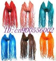 Lot 10 Gorgeous 100% Georgette Silk flounce Scarves scarf shawl H03