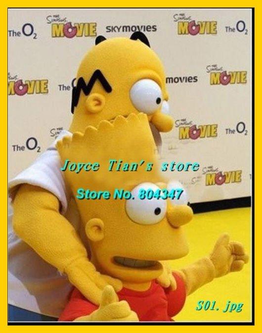 Homer Simpson Mascot Costume Christma fur Cartoon Mascot Costume Cartoon Character Costume for Adult Free shippping(China (Mainland))