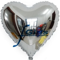 18 inch Silver Heart shape HELIUM Foil Balloons For Wedding Party Birthday party ,100pcs/lot,free shipping