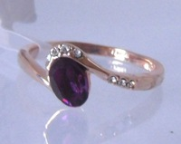 Ring.Women's ring.Size 9(S).Free shipping.Amethyst 18K GP Yellow Gold Ring.Fashion jewelry
