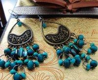 free shipping wholesale retro fashion  sea blue lady's alloy earring FE-018