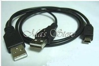 Free Shipping USB 2.0 Mini 5 Pin to A Male Data Power PC HDD Y-Cable black