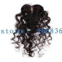 "Cheap  natural black deep curly  virgin brazilian hair lace closure 3.5""by4"""