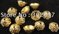 FREE SHIPPING 300pcs Antiqued gold plt swirl bead caps A535G