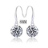 925 Sterling Silver Round Brilliant Cut CZ rhinestones Drop Dangle Earrings Fashion Jewelry FREE SHIPPING