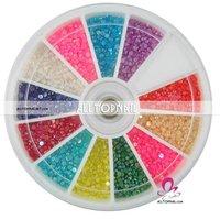 Free shipping nail art rhinestones A_Grade AB color Half Pearl 55Wheel 2400pcs/wheel 12color mixed