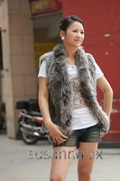 Женская одежда из меха HOT* Knit rabbit fur vest with finnraccoon trimming/ rabbit fur coat *cpa