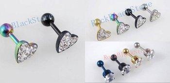 Fashion  Mixing Styles&Colors Heart shape Earring Stud  Fake Ear Plug Ear nail  body jewelry EEARR3686
